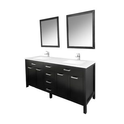 Photo of Brayden Studio Drake 60″ Double Bathroom Vanity Set with Mirror Base Finish: Espresso, Hardware Finish: Brushed Nickel