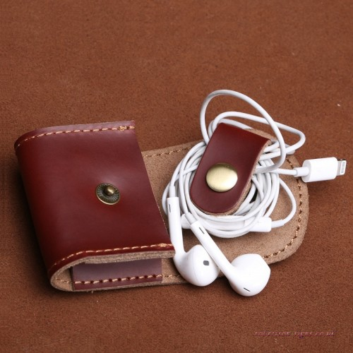 Hand Sewn Purse Leather Mouse Jewel Bag Brown Leather Souricette Key Ring