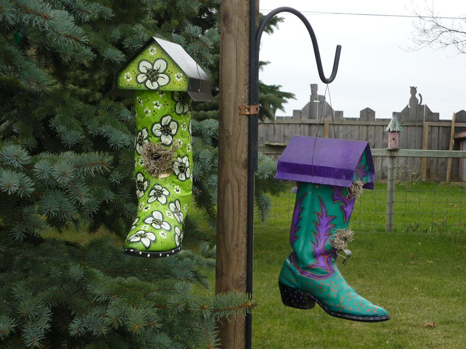 Gayes garden art painted cowboy boot bird houses shared on