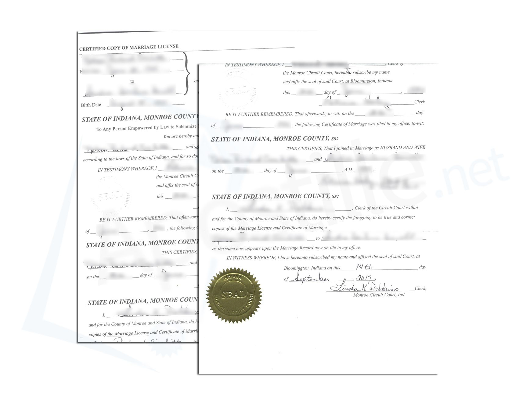 State Of Indiana Monroe County Certified Copy Of Marriage License
