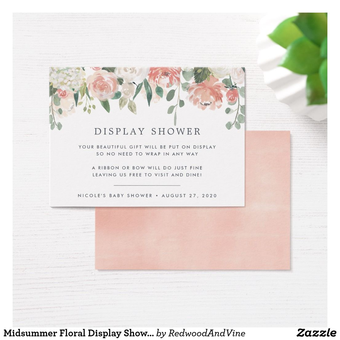 4b44d6cea614 ... petite cards into your baby shower or bridal shower invitations when  requesting that guests bring their gifts unwrapped. Pastel watercolor  floral design ...