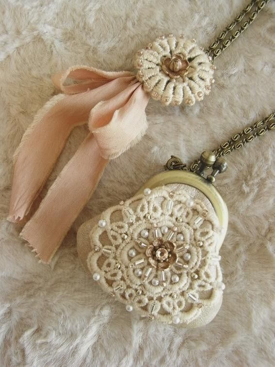 Antique lace, coin purse.