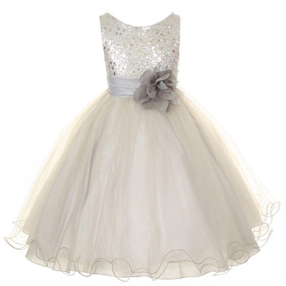 Pas cher 2015 sequins tulle flower girl dress argent for Robes de mariage en argent