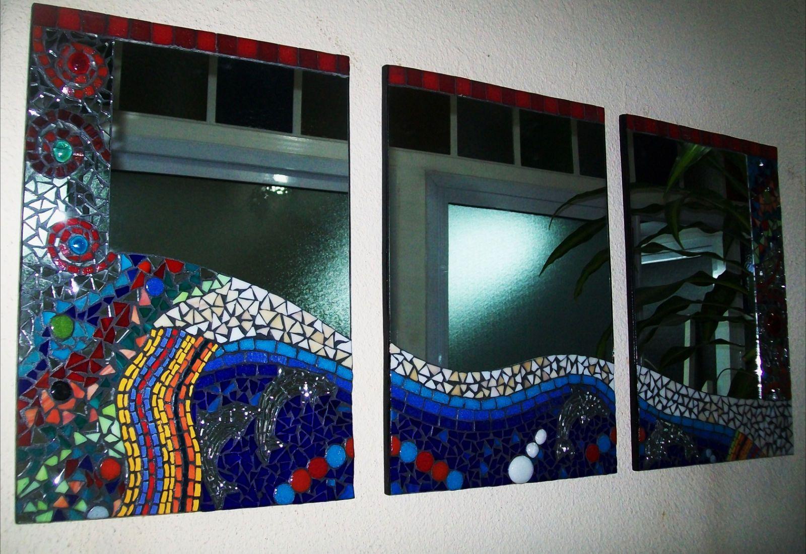 espejo triptico de dise o tecnica mosaiquismo med 43 x