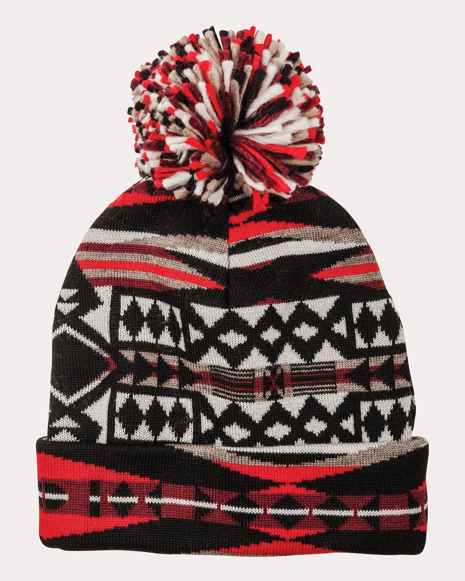 Scarlet La Paz Pom Pom Beanie - Pendleton Woolen MIlls - Apparel    Accessories - National Cowboy Museum 5ff04762f0a