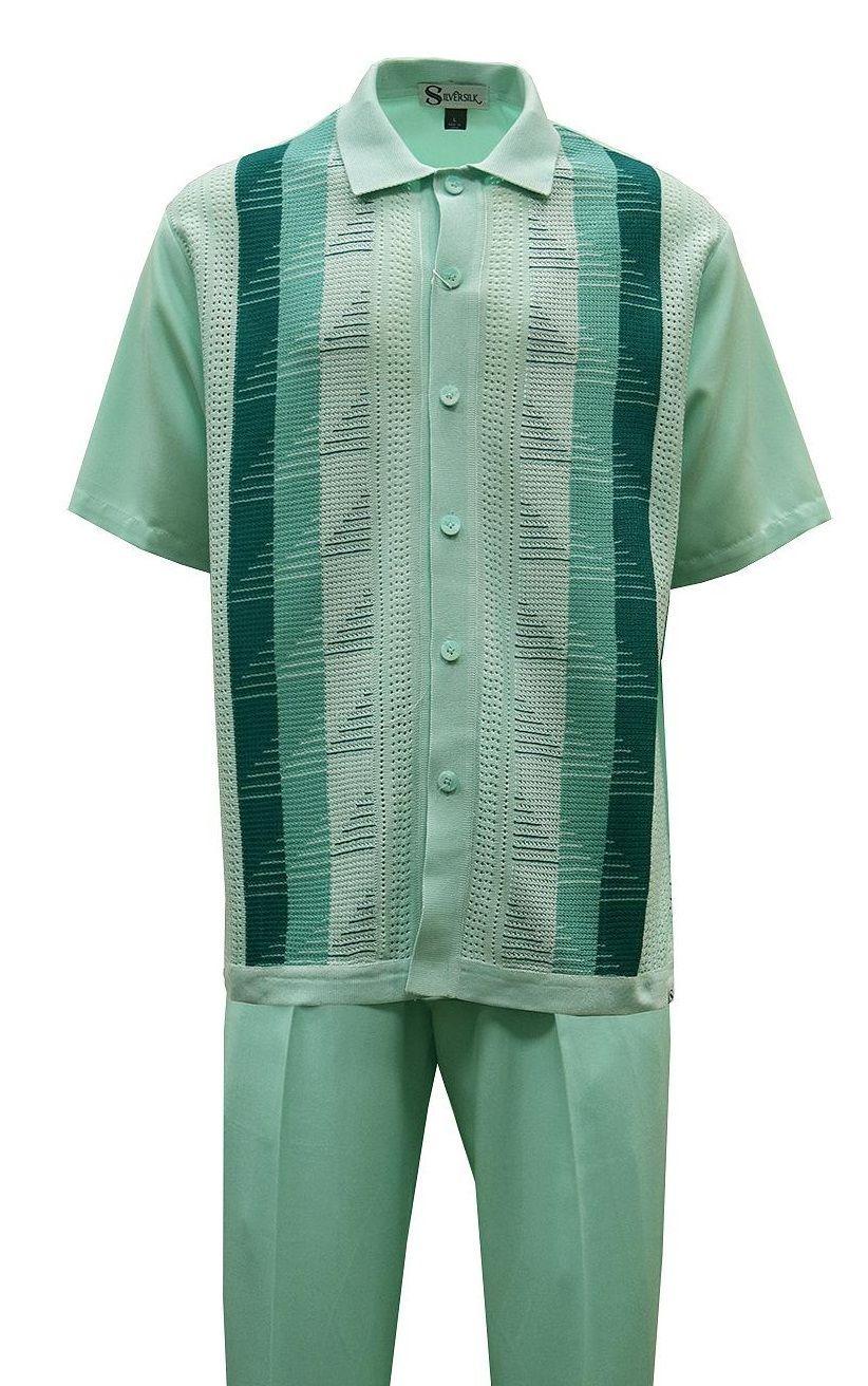 Silversilk Mint Green Walking Suit Knit Front 6322 Mens Casual Dress Outfits Mens Casual Dress Mens Dress Outfits