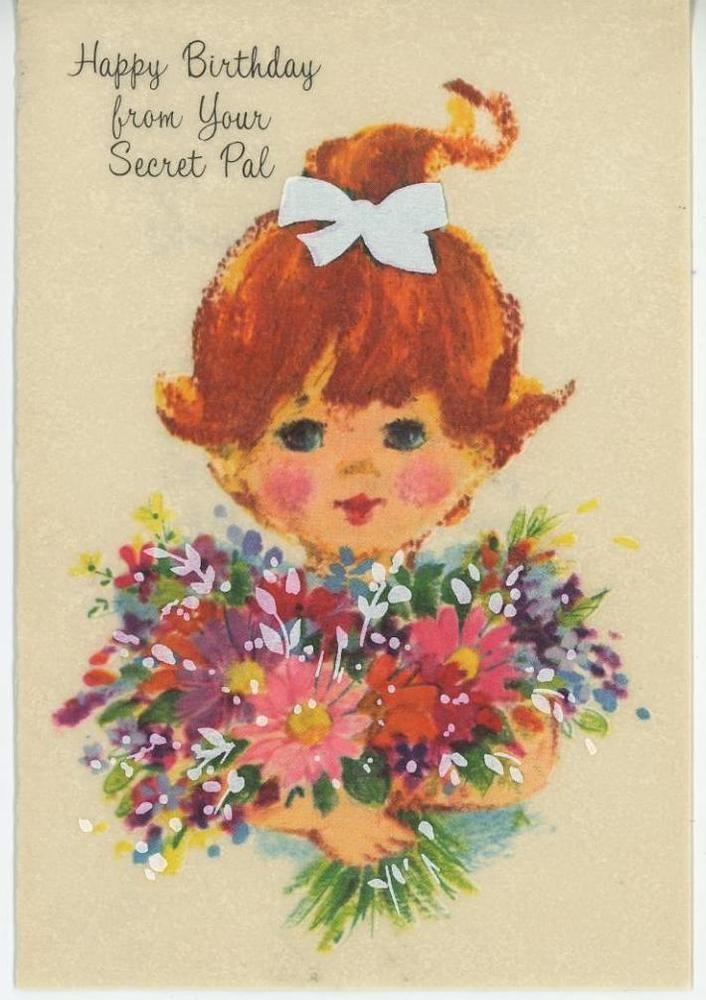 VINTAGE REDHEAD GIRL PONYTAIL BIRTHDAY CARD