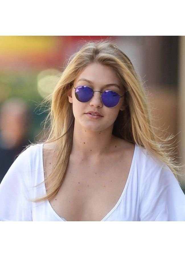 6faea326de Gigi Hadid Style Metal Rounded Color Mirror Celebrity Sunglasses ...