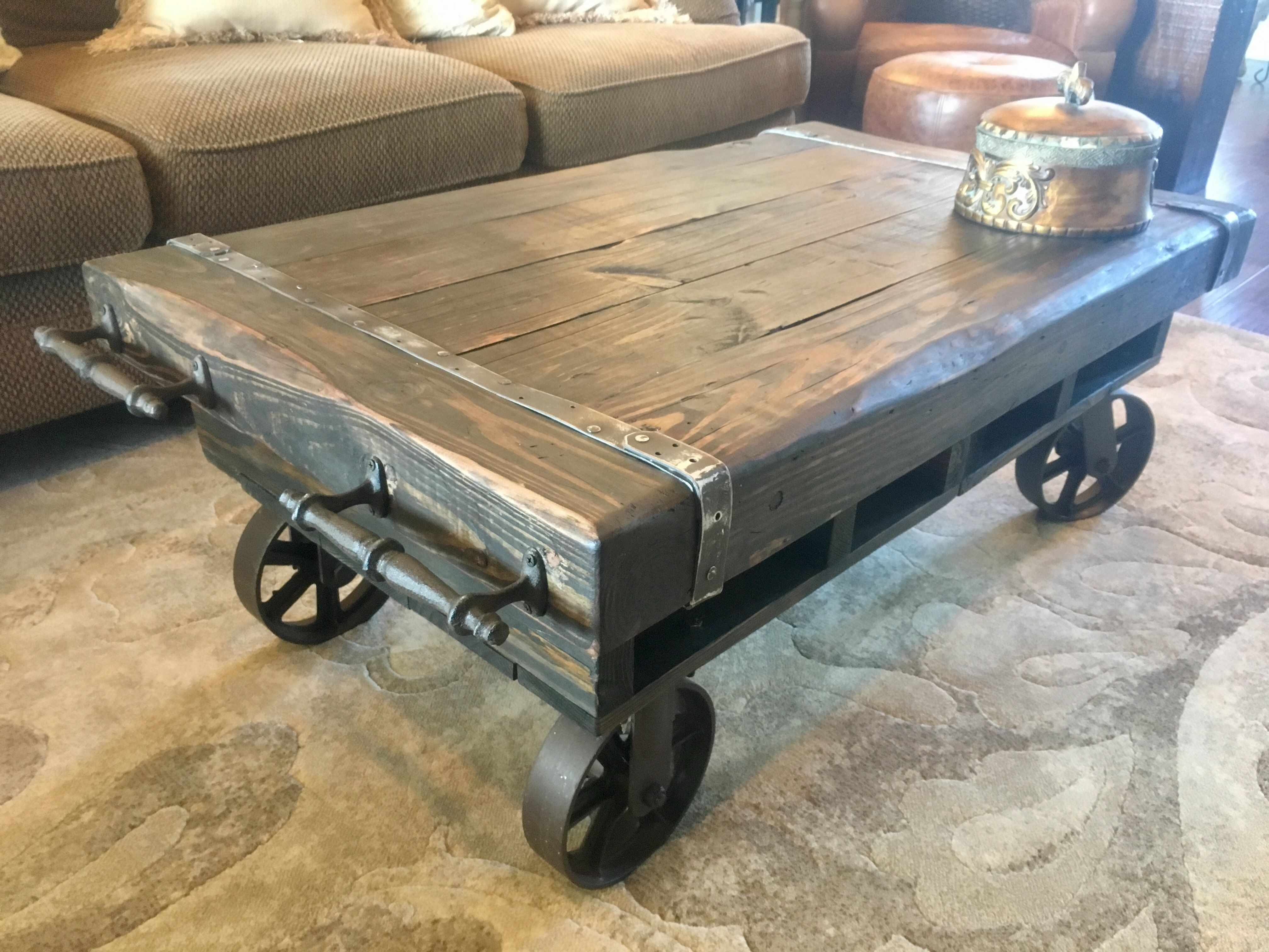 Rustic Factory Cart Coffee Table From Bacs Designs Rustic Coffee Tables Cart Coffee Table Industrial Style Coffee Table Rustic coffee table with wheels