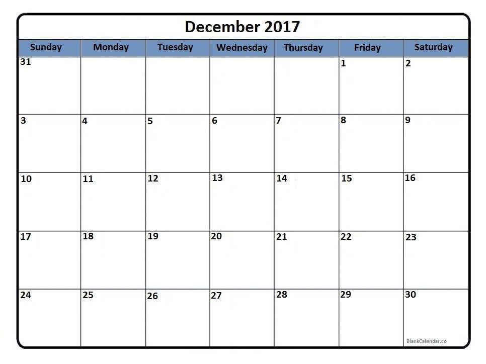 December 2017 Printable Calendar Calendar Printables Blank