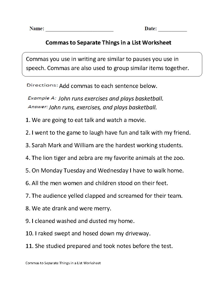 Commas Separate Things in List Worksheet   Punctuation worksheets [ 1188 x 910 Pixel ]