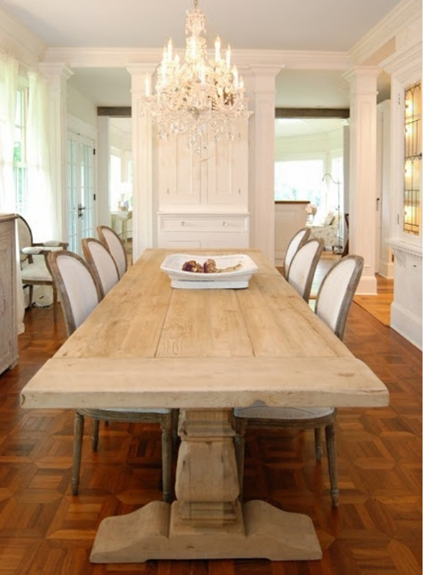 Rustic Plank Farmhouse Dining Table Barn Wood Reclaimed Look ...
