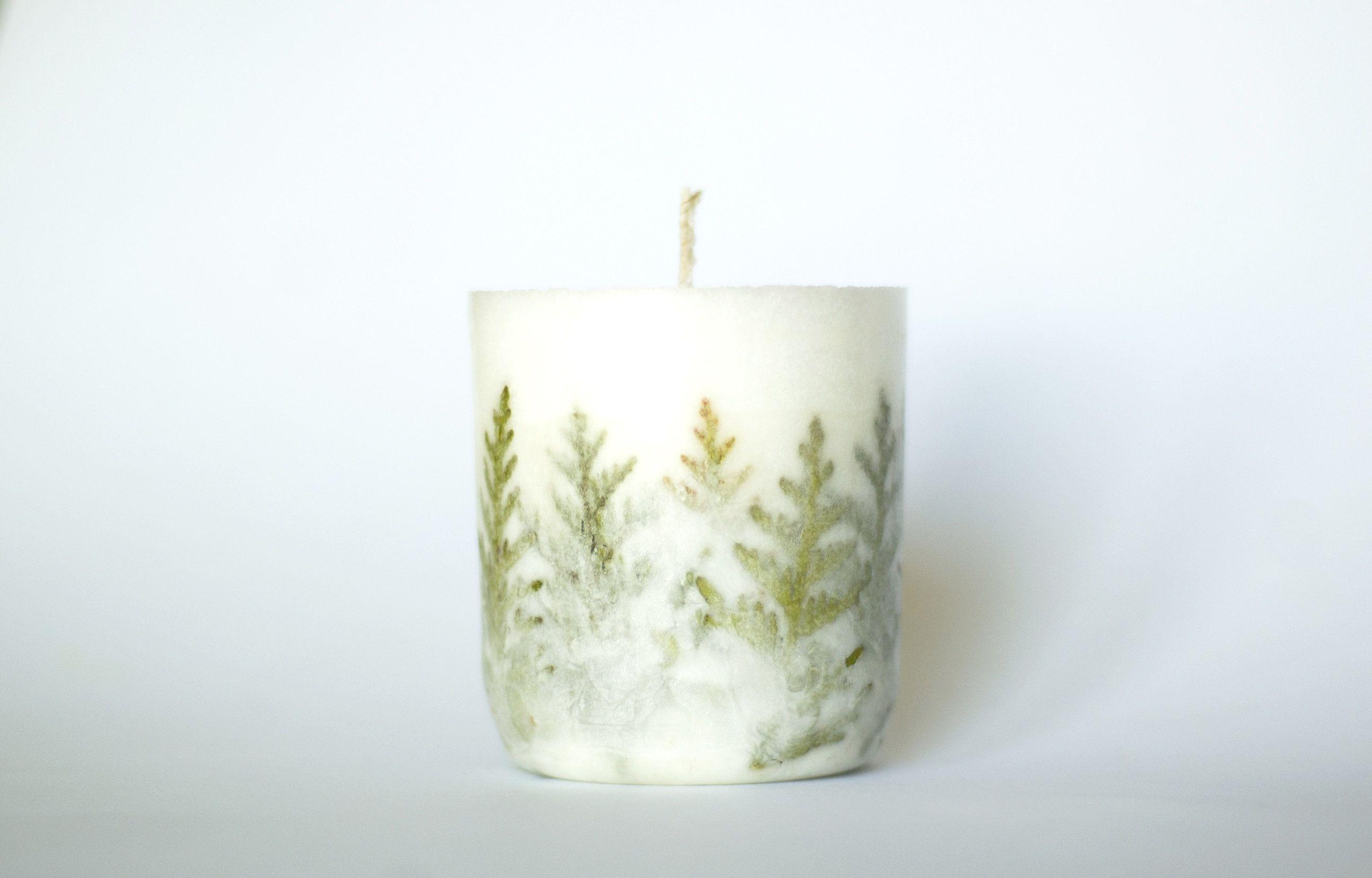 Fern candle botanical candle dried flower candle botanical