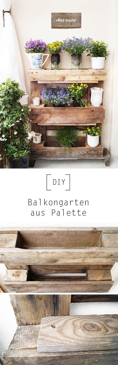 diy balkongarten aus palette by diy anleitung diy idee upcycling holzpalette terasse. Black Bedroom Furniture Sets. Home Design Ideas