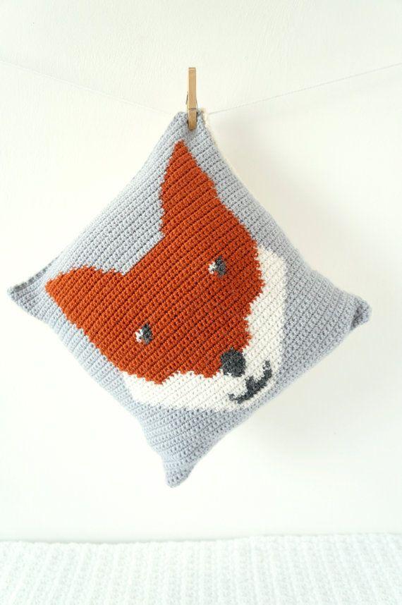 cushion crochet pattern intarsia UK terms US PDF tutorial fox pillow ...