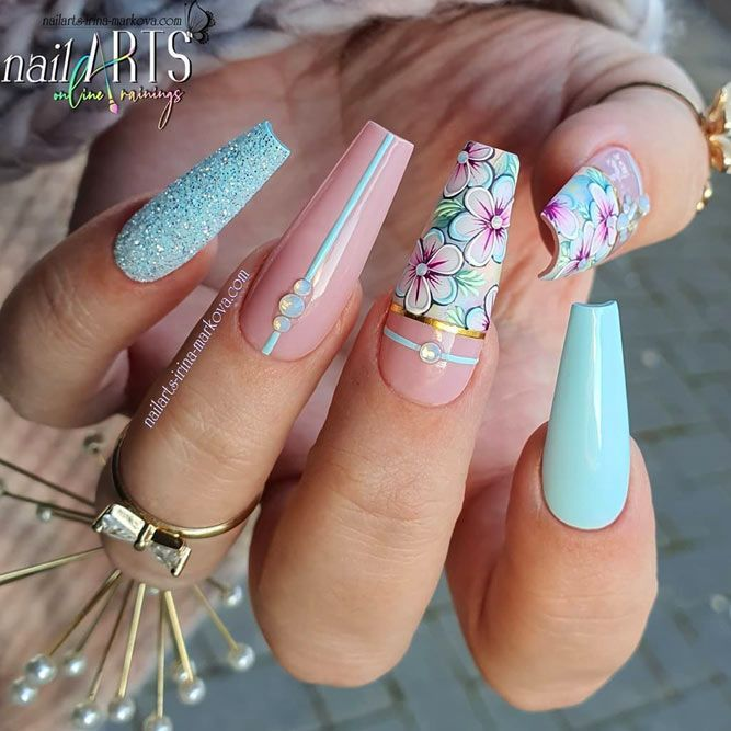 Fancy Designs For Coffin Nails Blue Coffin Nails W