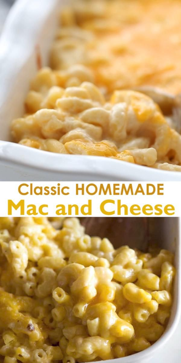 Classic Homemade Mac and Cheese made with bite-size pasta, cheddar cheese, and a simple creamy sauce all baked to perfection in the oven.  This recipe includes tips, tricks, and photos for making PERFECT baked mac and cheese.