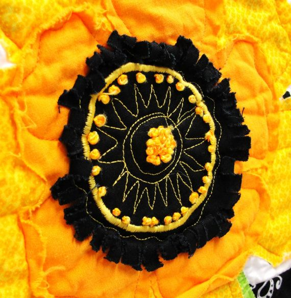 poppy quilt - wall art quilt - single stem in yellow and orange with ...