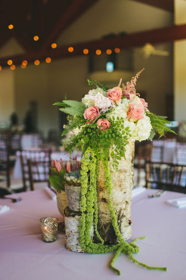 florals birch vase coral flowers rustic wedding
