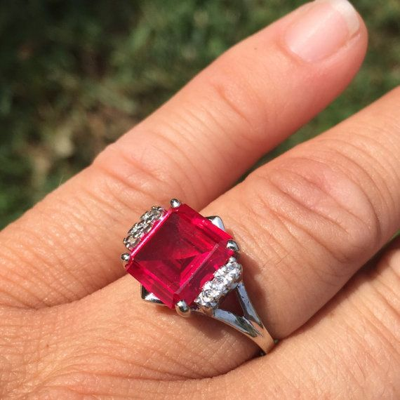 Vintage Dason Synthetic Ruby And Diamond Ring In 10k White Gold Synthetic Ruby Unique Items Products Rings