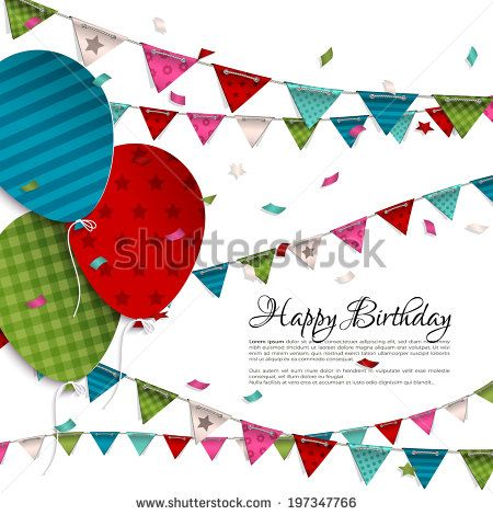 Vector birthday card with balloons and bunting flags – Vector Birthday Card