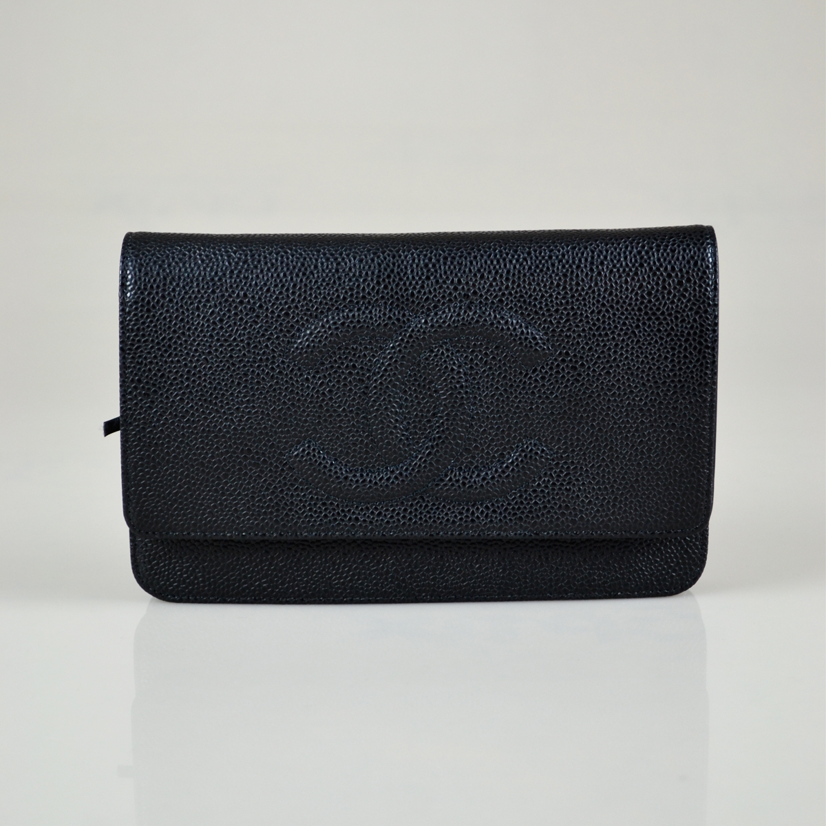 aaae44ae1090 Chanel Black Caviar Leather Timeless CC Wallet On A Chain (WOC ...