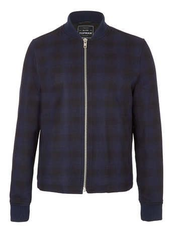 NAVY CHECK WOOL MIX BOMBER JACKET - Clearance