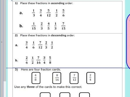 Compare order fractions - comparing and ordering fractions - KS2 ...
