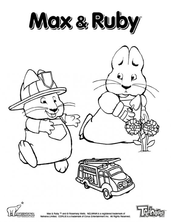 Ruby Watching Over Max Playing In Max And Ruby Printable Coloring ...