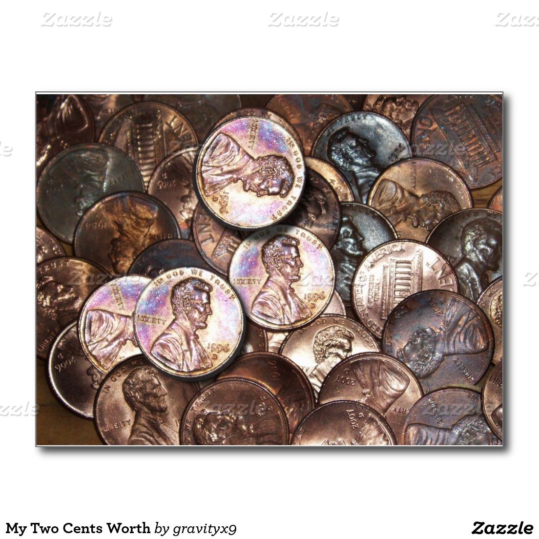 My Two Cents Worth Postcard #Pennies #Money #Coins #Zazzle