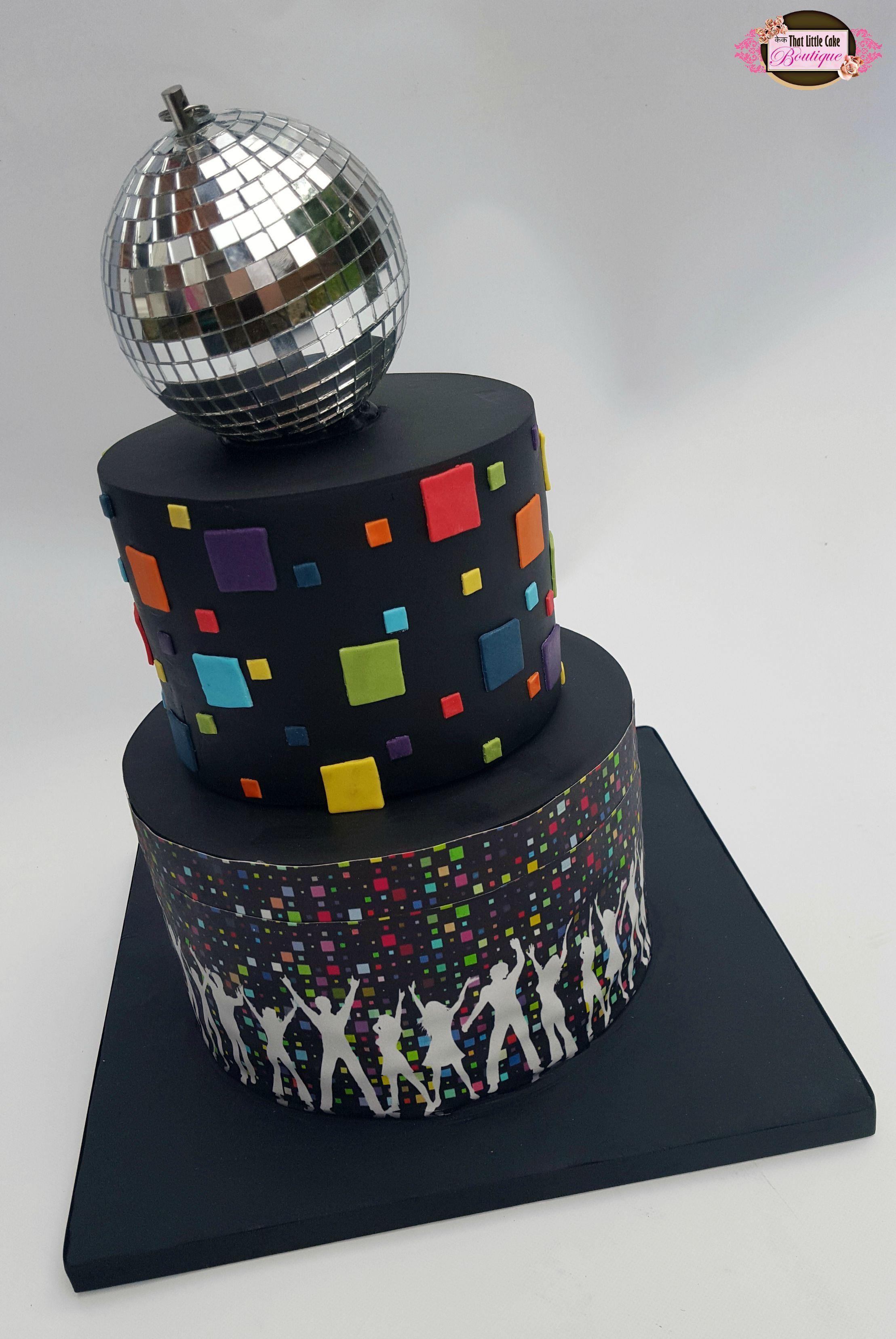 Disco Cake Round Cake Two Tier Disco Ball Black Cake
