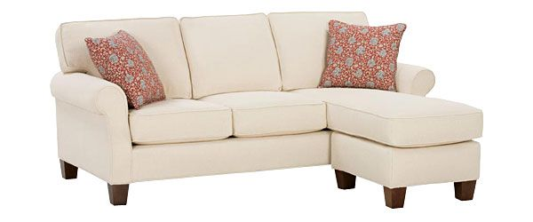 Traditional Casual Apartment Sofa W Chaise Rolled Arms