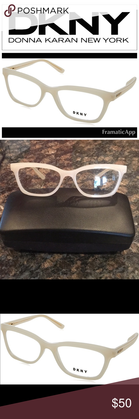 c1813f6d6829 DKNY Glasses Glasses are BRAND NEW! Lenses are CLEAR! I bought these to  turn into sunglasses and they just do nothing for me! Color is a creamy  white gold ...