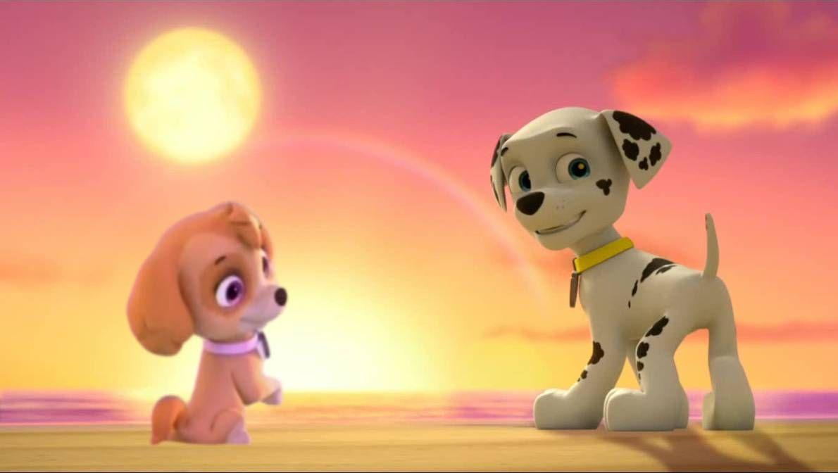 Marshall And Skye Enjoying A Sunset By Soiconamission On Deviantart Paw Patrol Disney Phone Wallpaper Skye