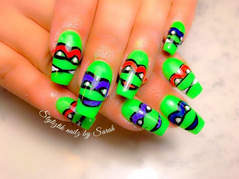 Ninja turtles acrylic nails | Nails By Sarah | Pinterest