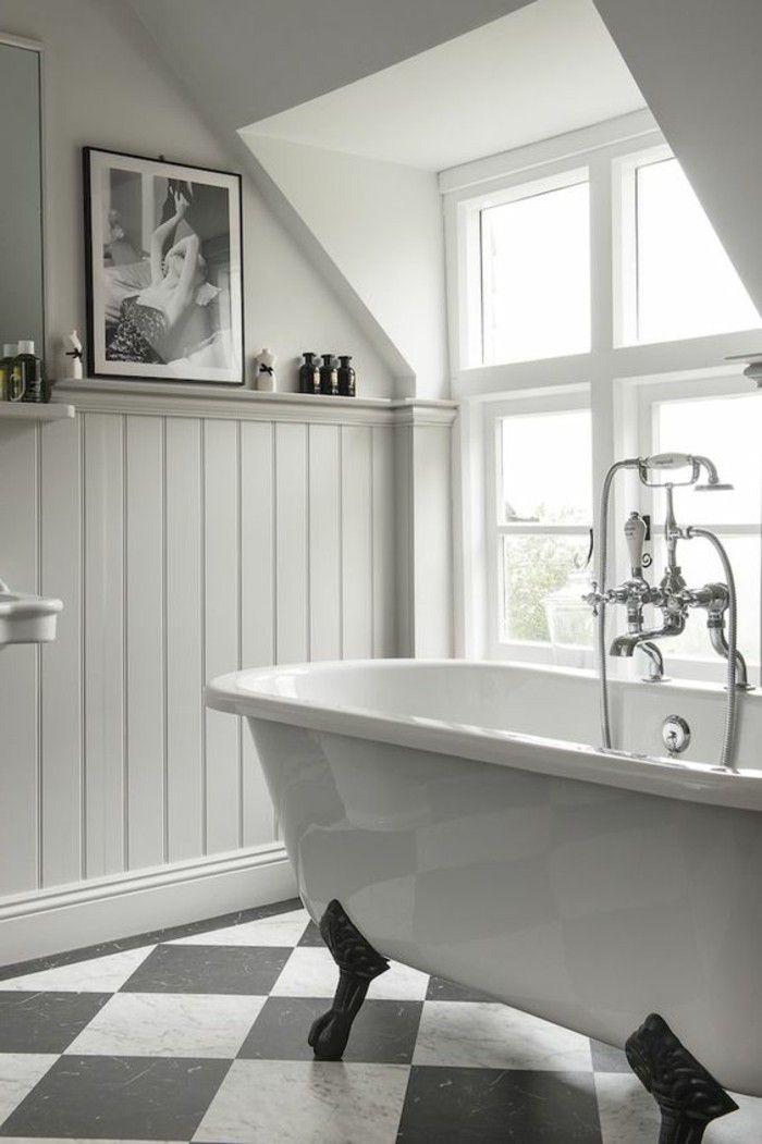 Le carrelage damier noir et blanc en 78 photos   Salle de bains shabby chic, Salle de bains ...