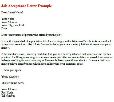 Job Acceptance Letter Example Thank You Letter Examples