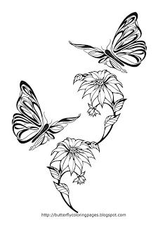 Butterfly With Flowers Coloring Pages Butterfly Coloring Pages