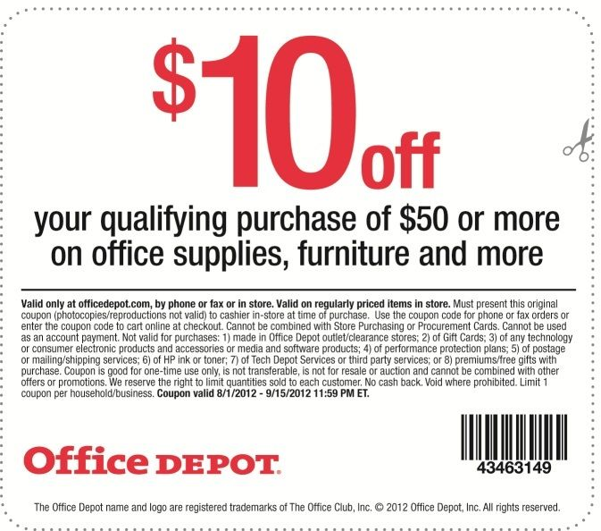 Office Depot 10 Off 50 Printable Coupon Home Depot Coupons Printable Coupons Online Coupons Codes