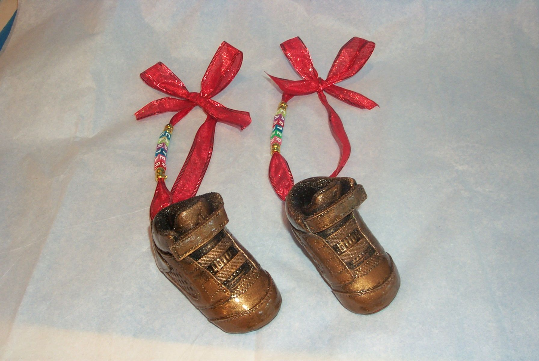 WE BRONZE BABY SHOES Pair of Baby shoes Bronzed as Christmas Tree