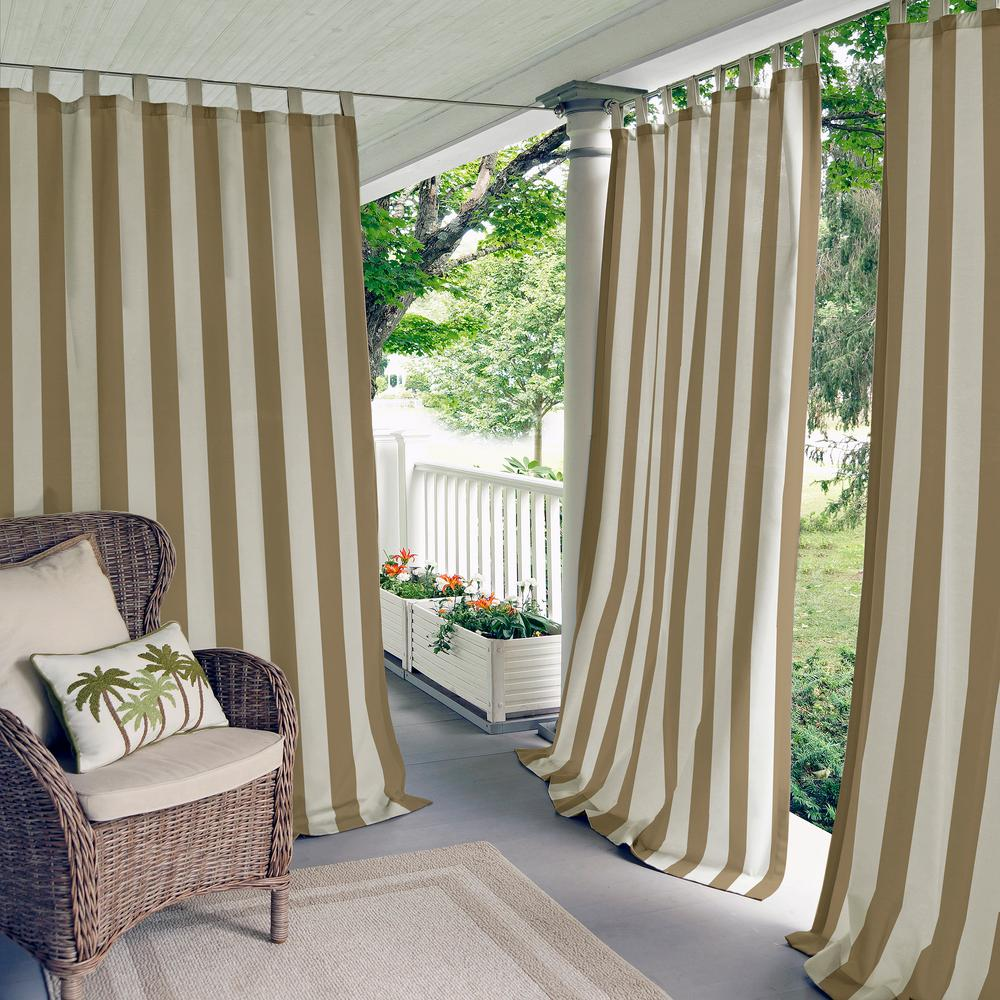 Elrene Highland Stripe Indoor Outdoor Window Curtain 18794nat