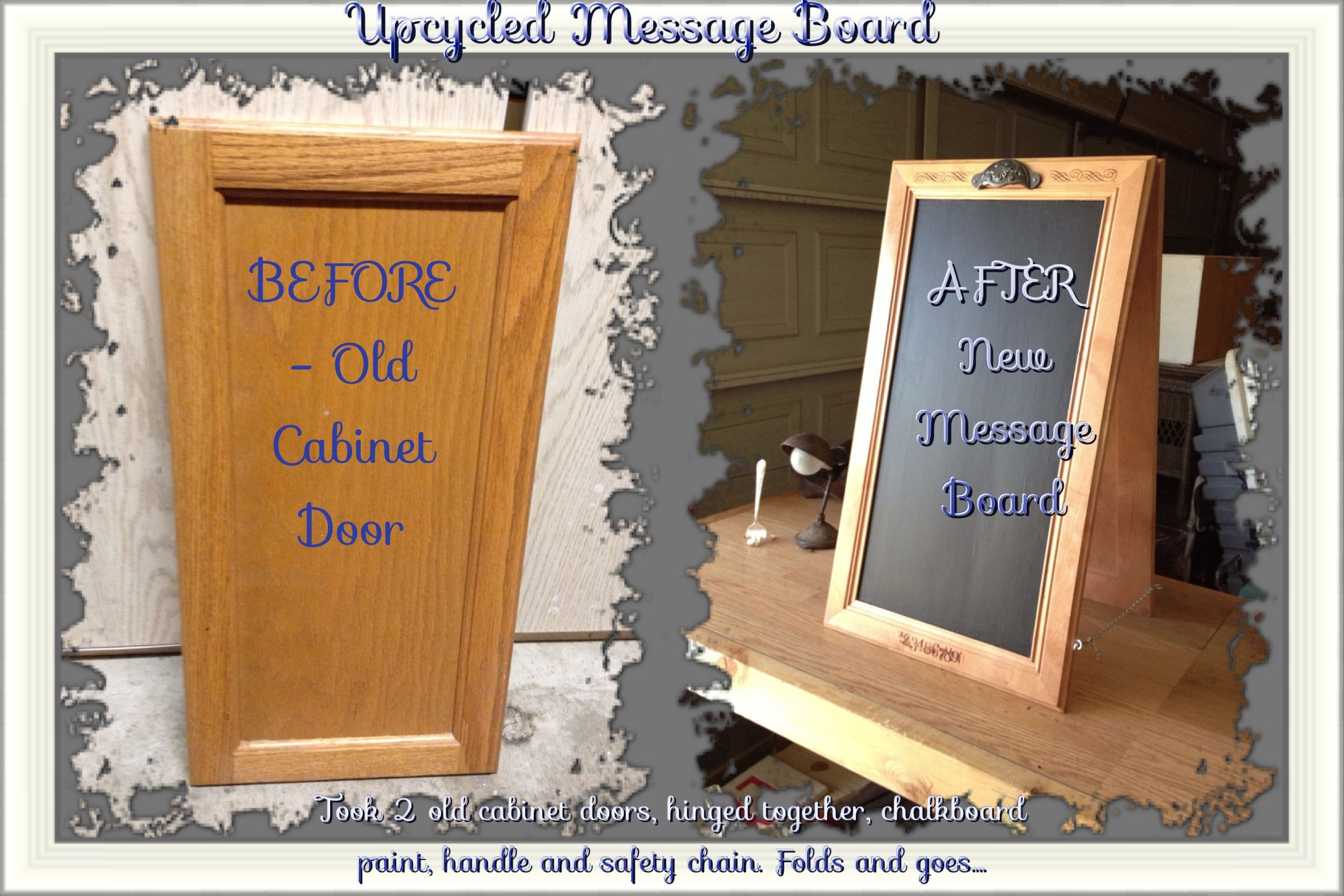 Upcycled Kitchen Cabinet Doors Into New Message Board