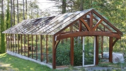Timber Framed Greenhouse From Salvaged Western Red Cedar And Recycled Slider Glass By Patrica