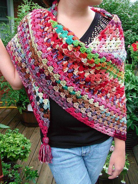 Granny Square shawl:   Crochet Sweaters, Shrugs, Etc   Pinterest ...