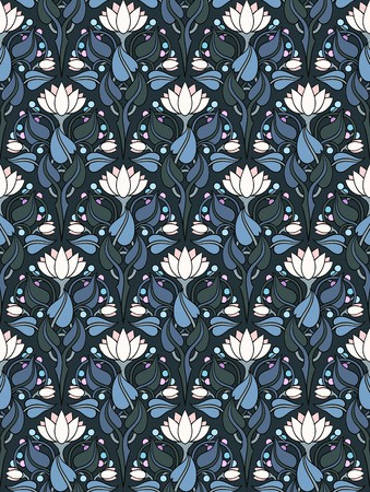 Lily Damask Blue Wallpaper Murals your way, Blue