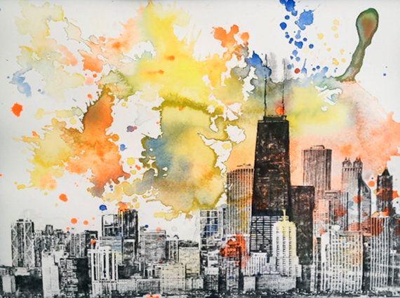 Chicago cityscape skyline landscape painting original 11 for Chicago landscape