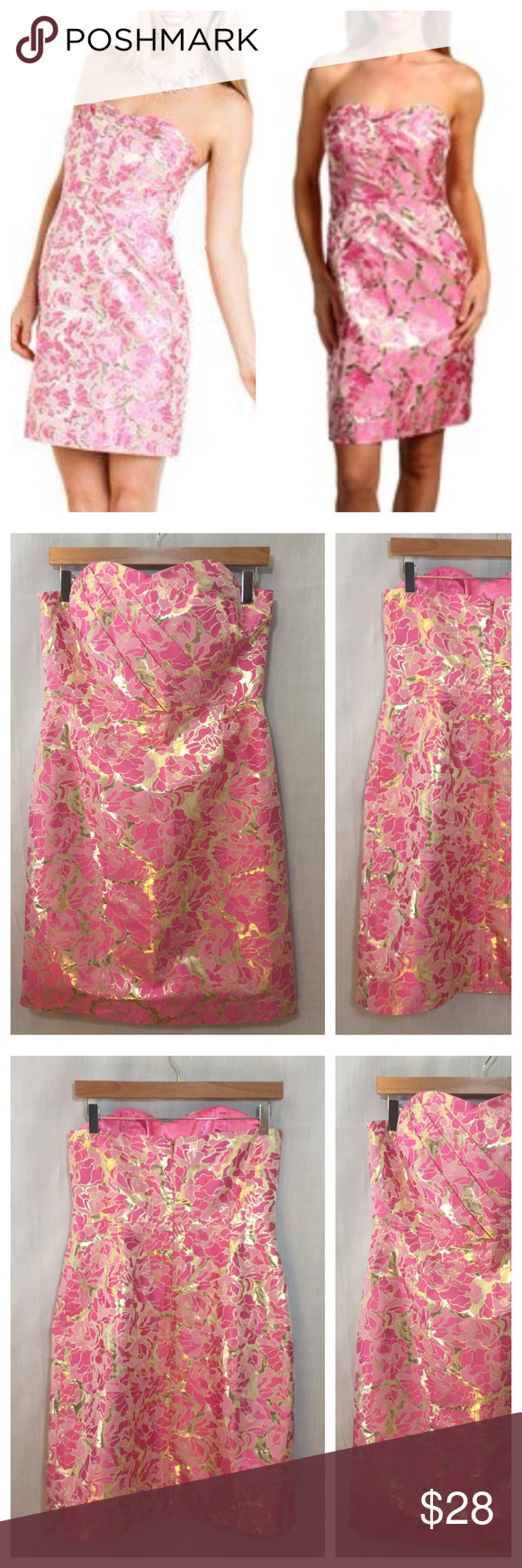 eda3af5c55a Lilly Pulitzer Raya Floral Silk Jacquard Dress 10 Lilly Pulitzer Raya Pink  Gold Floral Silk Metallic Jacquard Strapless Dress • Sz 10 • Boning in  bodice ...