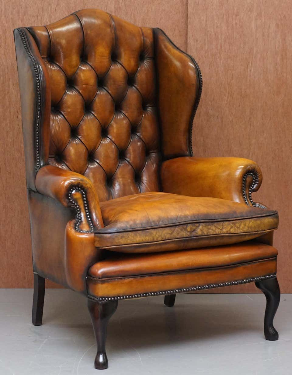 Pair Of Chesterfield William Morris Wingback Armchairs Cigar Brown Leather In 2021 Brown Leather Armchair Wingback Armchair Leather Chair Living Room