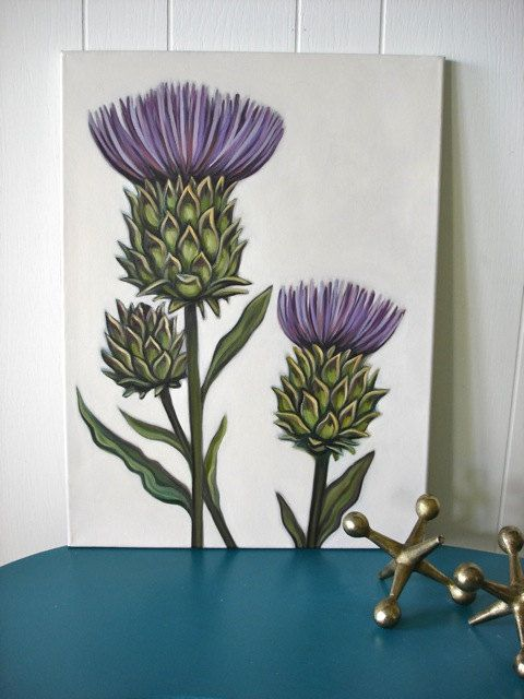 Original Oil By Carin Vaughn Of Thistle Flowers 18x24 Etsy Thistle Painting Etsy Painting Thistle Flower