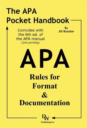 How to cite in apa format apa style the apa pocket handbook rules for format documentation conforms to edition apa a book by jill rossiter ccuart Images
